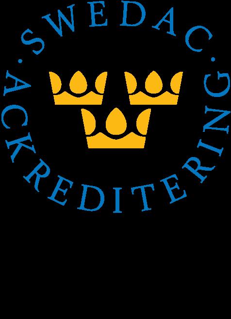 Läs mer om vår ackreditering på Swedacs webbplats.